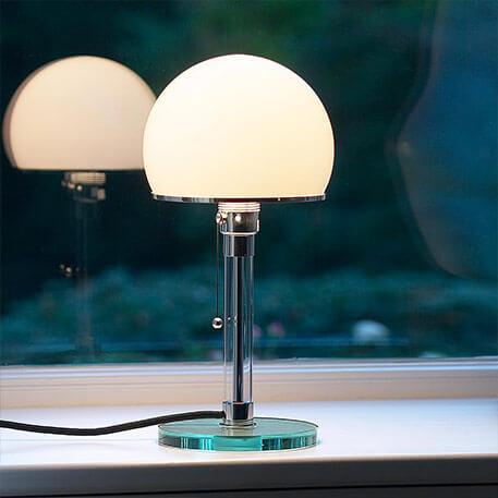 Szklana lampa stołowa Wagenfeld