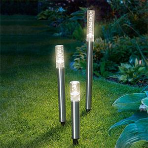 Solarne lampy słupkowe LED Trio Sticks, 3 el.