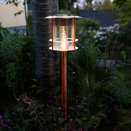 Solarny słupek ogrodowy Juno z LED, miedziany