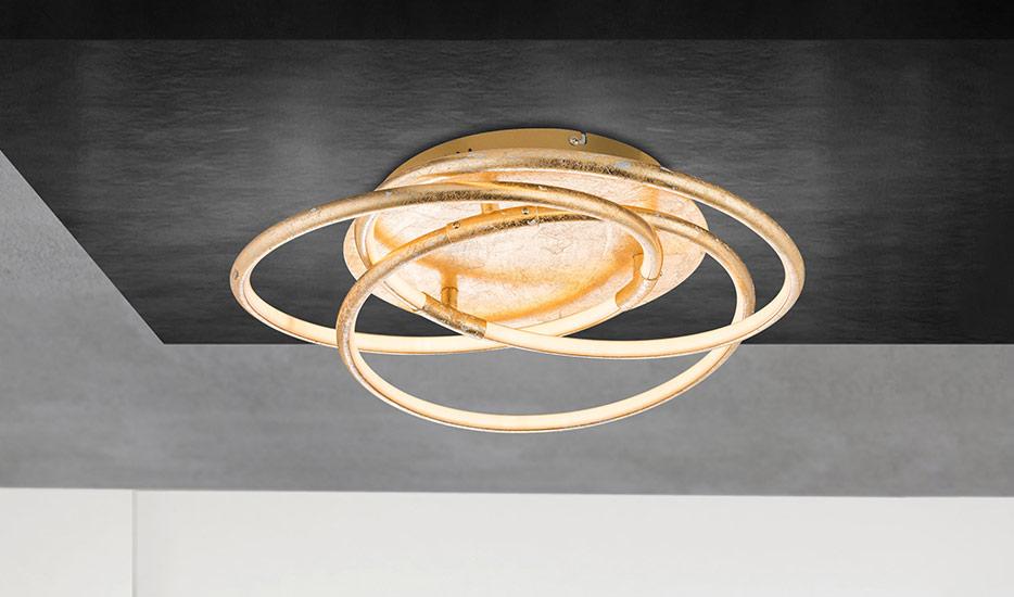 Barna - złoty projektowana lampa sufitowa LED
