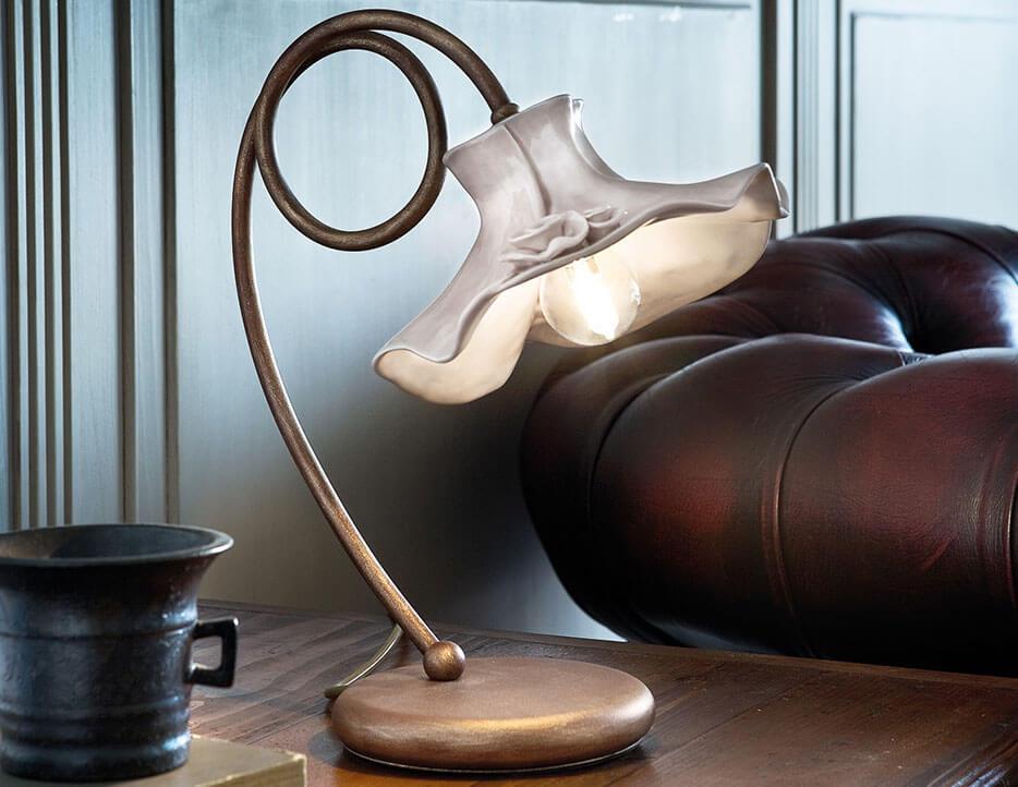 Lampa stolowa styl rustykalny dworkowy