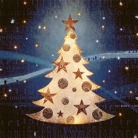 Obraz światłowodowy LED choinka bożonarodzeniowa w śniegu